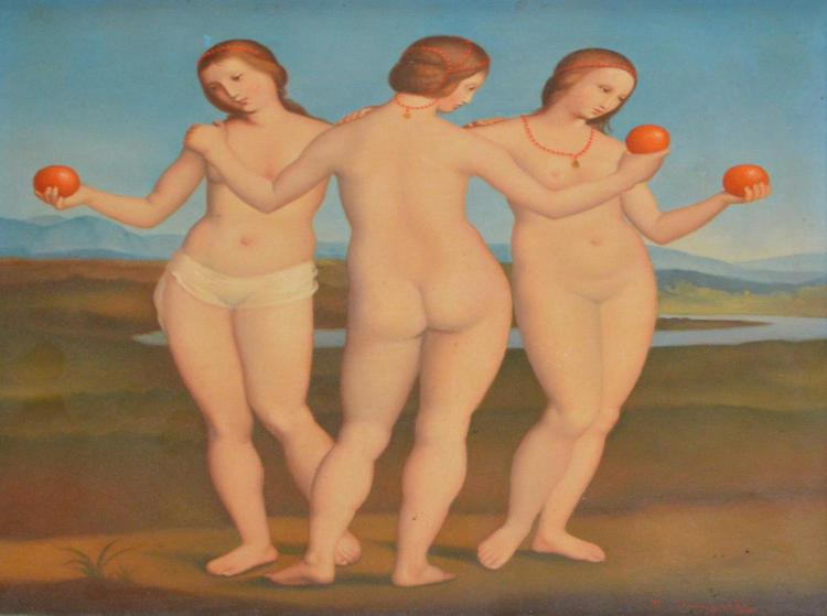 BRUNO CENGARLE, RECREATION OF RAPHAEL''S THREE GRACES, OIL ON BOARD, 27.5 X 27.5CM