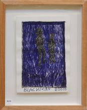 CHARLES BLACKMAN, UNTITLED (TWO FIGURES) 2010, INK AND TEXTA ON PAPER, 27 X 18.5CM (IMAGE SIZE), SIGNED AND DATED BELOW IMAGE