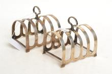 PAIR OF STERLING SILVER TOAST RACKS, (ONE WITH DAMAGE)