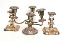 PAIR OF EPNS CANDLEHOLDERS AND A FIVE LIGHT EPNS CANDLE HOLDER