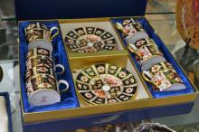 ROYAL CROWN DERBY IMARI PATTERN DEMI TASSE COFFEE SET FOR SIX, IN A FITTED COALPORT BOX