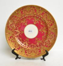 ROYAL CROWN DERBY IMARI PATTERN PLATE AND A ROYAL WORCESTER PLATE (A/F)