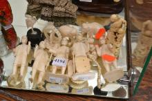 A COLLECTION OF BONE FIGURES AND NECKLACE (AF)