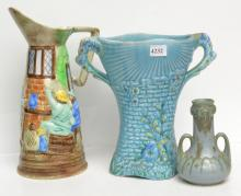 TWO ENGLISH POTTERY VASE AND A SARREGUEMINES DISH AND ONE OTHER VASE