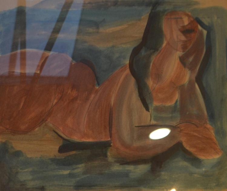 NANCY GRANT, NUDE RECLINING, WATERCOLOUR, 48 X 58CM