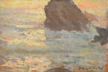 JULES HERVE-MATHE, SEASCAPE, OIL ON BOARD, 18 X 26CM