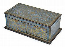 A FRENCH LACQUERED CUT BRASS INLAID DOCUMENT BOX