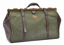 A GENTLEMAN'S DUFFLE BAG BY PRIZMIC & BRILL IN CANVAS AND LEATHER