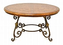 A FRENCH PROVINCIAL STYLE WROUGHT IRON BASED PARQUETRY TOP CENTRE TABLE