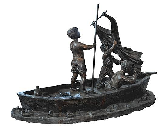 DAVID BROMLEY (BORN 1960) boys in sail boat, bronze statue, 173 x 264 x 136cm