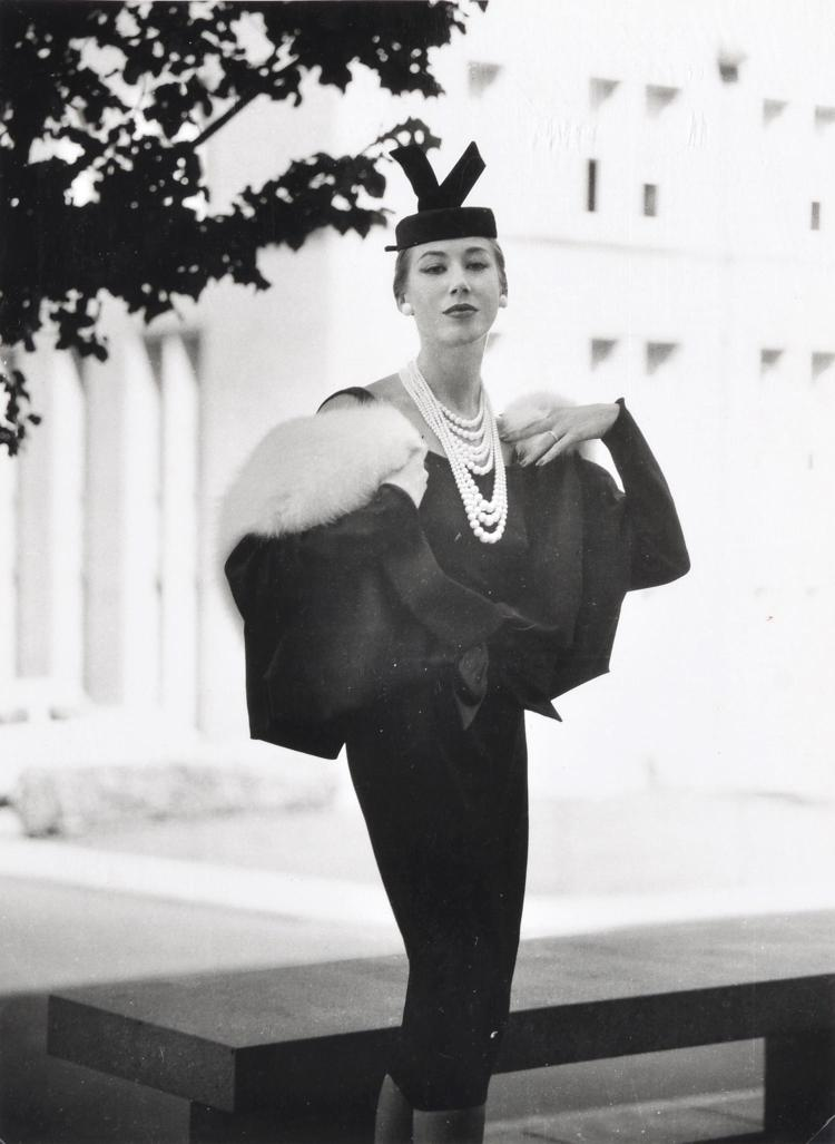 BRUNO BENINI (1925-2001) Dress and Jacket by Hall Ludlow Photographed at Melbourne University Worn by Dame Masters, 1956 silver gela...