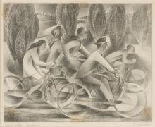 FRANK HINDER (1960-1992) Office Staff, Canberra lithograph