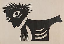 NOEL COUNIHAN (1913-1986) Laughing Christ linocut edition 22/120