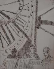 JUDY CASSAB (born1920) Coffee at Musee D'Orsay 1997 etching BAT