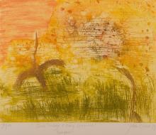 JOHN OLSEN (born 1928) Bush Turkeys and King Leopold Ranges 1983 colour etching edition 50/100