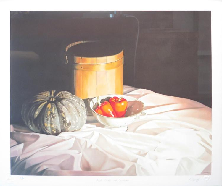 ALEXANDER LAVROFF Born 1940 (LOCATION SYDNEY OFFICE - all enquiries phone 02 9362 9045) Amish Bucket with Capsicums Giclee print