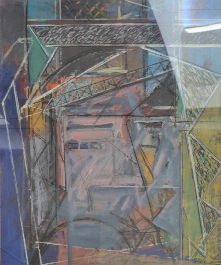 RICHARD HOOK, ABSTRACT CONSTRUCTION, 1986, ACRYLIC ON PAPER, 99 X 82CM