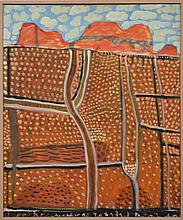 WAYNE EAGER (1957), UNTITLED (CENTRAL AUSTRALIAN LANDSCAPE), OIL ON CANVAS, 69 X 57CM, SIGNED AND DATED VERSO: WAYNE EAGER '92