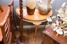 A QUEEN ANNE STYLE PINE DEMILUNE TABLE