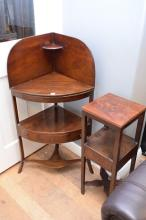 A 19TH CENTURY ENGLISH MAHOGANY CORNER WHATNOT AND A CROSS BASED OCCASIONAL TABLE