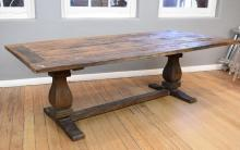 A RUSTIC PROVINCIAL STYLE STRETCHER BASED DINING TABLE (H240xW110xD78cm) - unstable