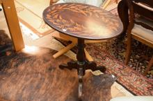 AN ANTIQUE STYLE PAINTED OCCASIONAL TABLE WITH FERN DECORATION