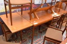 A DANISH VEJLE TEAK EXTENSION DINING TABLE - stamped (74x140x90cm unextended)