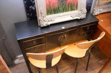 AN ORIENTAL BLACK LACQUERED HALL TABLE
