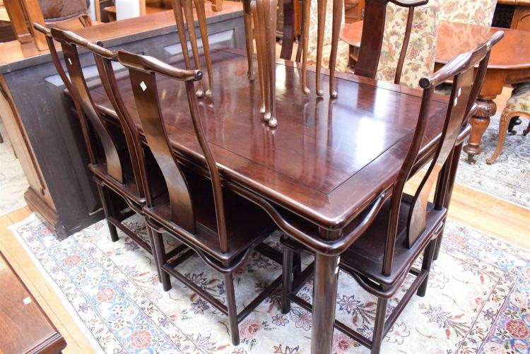 An oriental dining table and six chairs for Oriental dining table and chairs