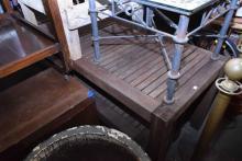 A JARRAH S2D10 PATIO/BALCONY THREE PIECE SETTING, 73 X 15 X 75CM