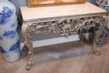 A ROCOCO STLYE DECORATIVE SILVER PAINTED MARBLE TOP CONSOLE (129w x 86h x 55d)