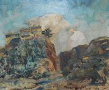 IAN BOW, LANDSCAPE WITH HORSE ON HILL, OIL ON CANVAS, 59 X 69CM