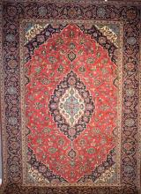 PERSIAN CLASSIC KASHAN. SOLID, HARDWEARING. CLASSIC MEDALLION DESIGN. ORIGIN- IRAN, 348 X 245CM, RRP $3900