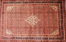 FINE PERSIAN TRIBAL ENJELAS, HAND-SPUN WOOL USING NATURAL DYES, BOLD DIAMOND SHAPED MEDALLION, CORNER MEDALLION IN RED FIELD OF HERA...