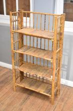 A RUSTIC FOUR TIER CANE WHATNOT - to be stabalised