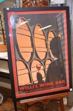 A WILLI''S WINE BAR FRAMED ADVERTISING POSTER