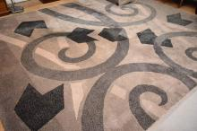 A LARGE MODERN RUG IN GREY TONES - some marks (410 x 410 cm)
