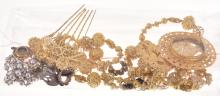 A COLLECTION OF ANTIQUE COSTUME JEWELLERY