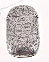 A STERLING SILVER ENGRAVED VESTA, HALLMARKED M&L CHESTER 1894-95, ENGRAVED FROM WALTER FROM HIS UNCLE JAMES ON HIS GOLDEN WEDDING DA...
