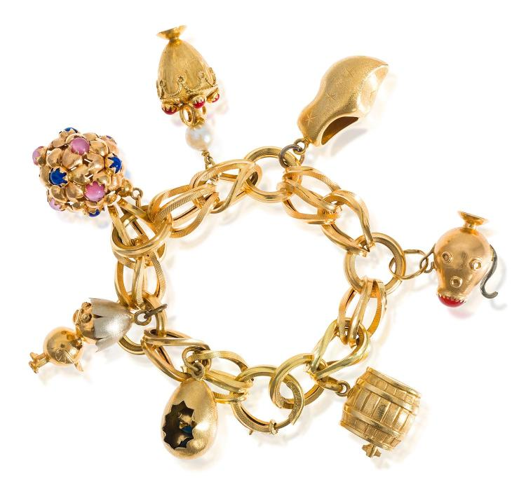 an italian gold charm bracelet by brev