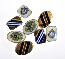 TWO PAIRS OF ENAMEL GILT METAL CUFFLINKS WITH ROYAL CYPHER