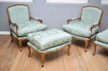 A PAIR OF LOUIS XV STYLE DOWNFILLED BERGERES IN SILK TEXTURED BROCADE WITH MATCHING OTTOMANS