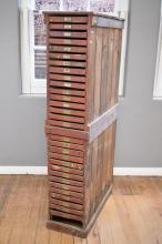 A TALL VINTAGE ENGINEERS PARTS DRAWERS