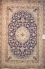 A PERSIAN NAIEN DESIGN SILK & WOOL PILE IN RARE PERSIAN BLUES, SUPERB QUALITY CARPET, ORIGIN IRAN IN NEW CONDITION, 290 X 200, RRP $...