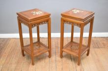 A PAIR OF ORIENTAL MOTHER OF PEARL INLAID SIDE TABLES