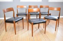 A SET OF SIX 1960's DANISH STYLE TEAK FRAMED DINING CHAIRS