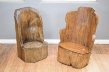 TWO PRIMITIVE GARDEN CHAIRS