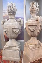 A PAIR OF LARGE AND IMPRESSIVE COMPOSITE FLAME URNS - dismantles into sections (220CM H X 100CM W) Professional removal required - R...