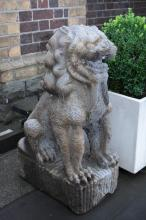 A PAIR OF ANTIQUE BLUE STONE CHINESE TEMPLE LIONS - professional removal required (Ron Jones - 0407339009) 100CM H