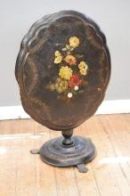 A PAPIER MACHE FIRE SCREEN WITH MOTHER OF PEARL INLAY (some damage to edge)